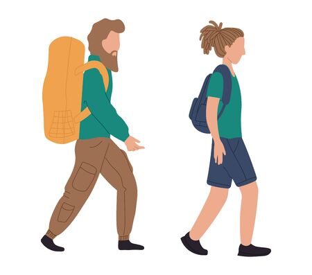 Backpackers woman and man at airport, vector illustration. People characters with luggage in airport. Passengers with baggage.