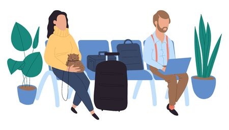 People sitting at airport and waiting for flight, vector illustration. Waiting room at international and domestic airport.
