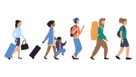 Walking people in queue at airport, vector illustration.Characters woman, man and kid with luggage in airport. Different passengers with baggage. Ilustração