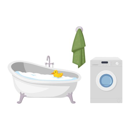 Bathroom, washing machine and towel, vector illustration, isolated on white background. Taking a shower, bathing, powder room. Ilustração