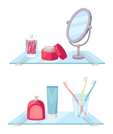 Shelf in bathroom for brushing teeth and washing face, vector illustration, isolated on white background. Bathing, powder room.