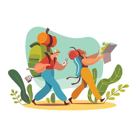 Male and female characters backpacker with map in forest, travel and trip vector illustration, isolated on white background.
