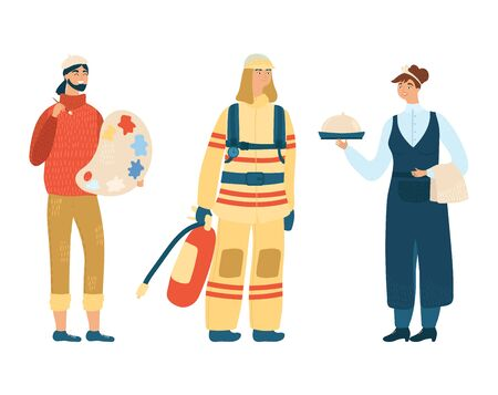 Fireman, cook and artist concept different profession vector illustration, isolated on white background. Occupation icon. Ilustração