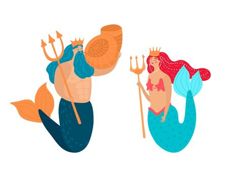 Poseidon with a golden trident and into the shell with fantasy girl in mermaid isolated on a white, cartoon vector illustration Ilustração