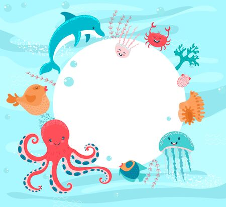 Cartoon sea animals fish, crab and starfish, octopus and jellyfish, and dolphin coral, shell big white banner illustration, vector