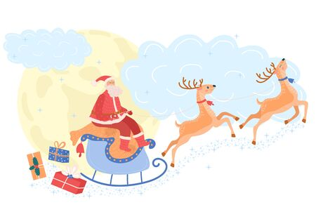 Santa Claus on reindeer carries gifts to children, concept and vector illustration, isolated on white background. Merry Christmas. Ilustração