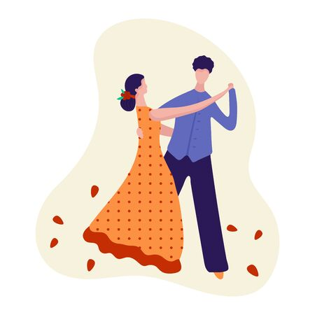 Pair dancing for men and women, night sport dance concept and vector illustration, isolated on white background. Male and female characters.