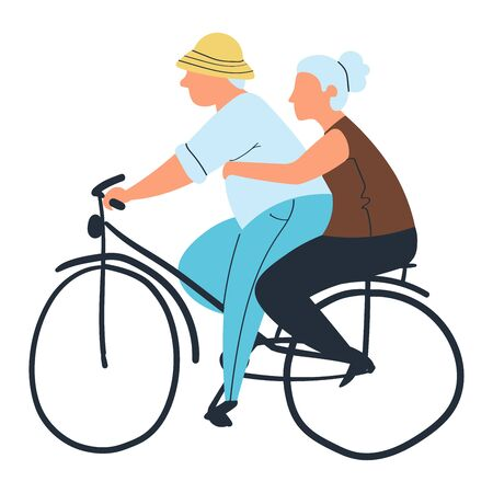 Old woman and old man on bicycle in city park concept and vector illustration, isolated on white background. Elderly couple riding on bike. Vettoriali