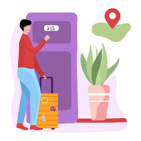 Male character with luggage near hostel door and geo mark, concept and vector illustration on white background. Hostel, motel, hotel door.