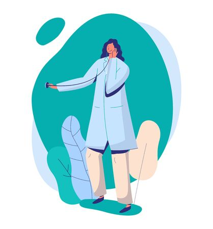 Woman doctor with stethoscope, online medicine, female character concept and flat vector illustration on white background.