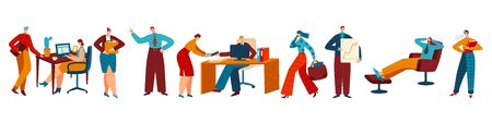 People working in office, business employee cartoon character, vector illustration