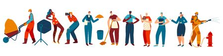 People of different professions, isolated cartoon characters, vector illustration Vektorgrafik