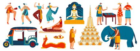 Main symbols of Thailand, set of isolated tourist attractions and people, vector illustration