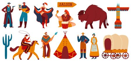 Wild West, native Americans and cowboys, set of isolated icons and people, vector illustration