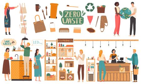 Zero waste lifestyle, environment friendly products, people vector illustration