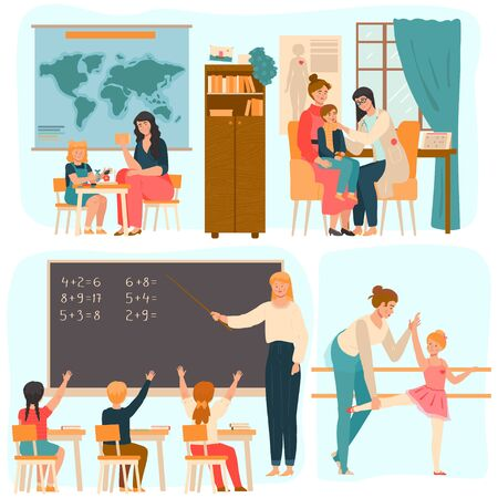 Tutor working with children, teacher in school class, people vector illustration