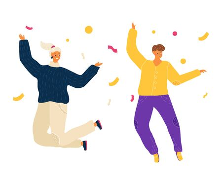Happy jumping people, woman celebrating victory concept and vector illustration on white background. Characters jump with cup.