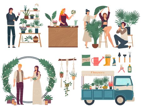 Florist selling flowers, people decorating wedding ceremony, vector illustration