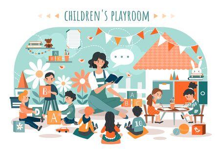 Children playroom, kids with teacher in kindergarten, people vector illustration