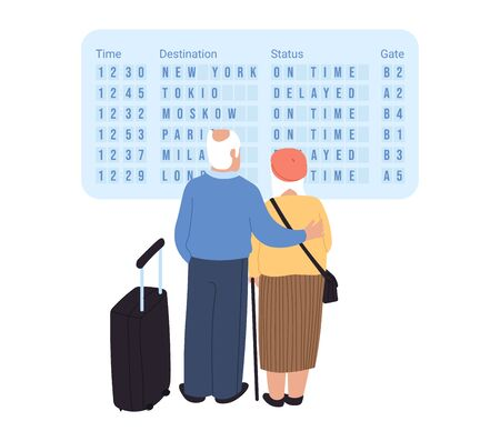 Old couple at airport, vector illustration. Characters woman and man with luggage in international airport. Passenger at flight timetable. Ilustração