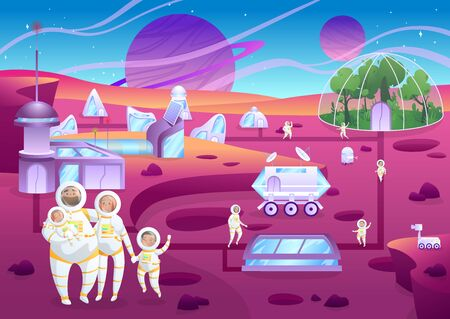 Family of astronauts terraforming planet, space colonization people, vector illustration