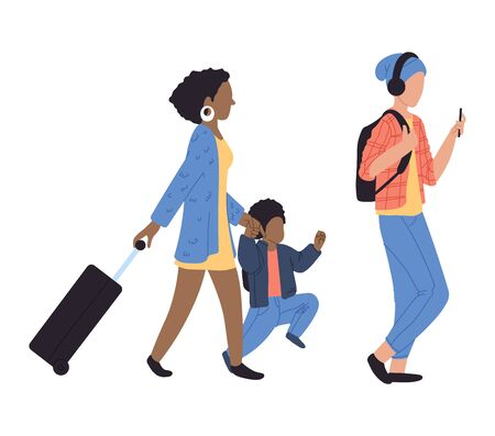 Walking people at airport, vector illustration. Characters woman, man and kid with luggage in international airport. Passengers with baggage.