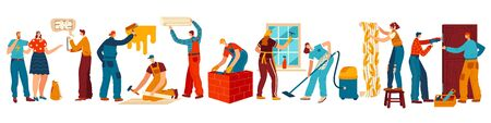 People renovating house, repair and maintenance service, vector illustration