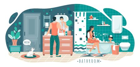 Family in bathroom, morning hygiene routine, vector illustration. Man shaving, boy bathing, woman sitting on bathtub. Happy parents and son together in bathroom, people cartoon characters Ilustração
