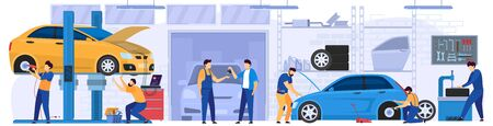 Car service, professional maintenance and diagnostic, people vector illustration