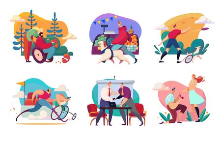 Disabled people enjoying life, active and successful social lifestyle, vector illustration
