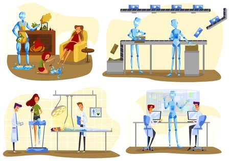 Robots and people, future technologies, artificial intelligence vector illustration Ilustrace