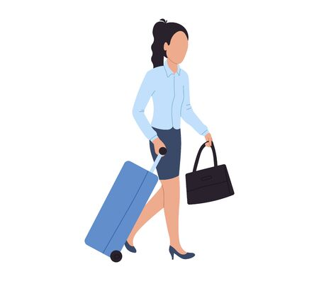 Walking business woman at airport, vector illustration. Character woman with luggage in international airport. Passenger with baggage.