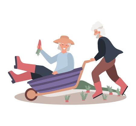 Old male and female ride cart on farm concept and vector illustration on white background. Flat fitness older people do exercises.