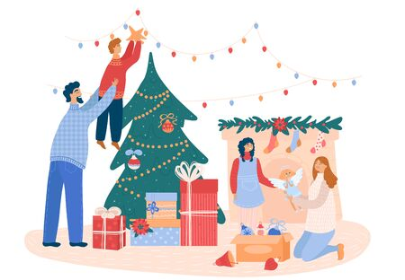 Family decorates a Christmas tree and fireplace befor Xmas, concept and vector illustration, isolated on white background. Ilustração