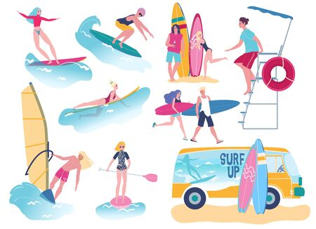 People surfing, attractive young men and women with surfboards, vector illustration
