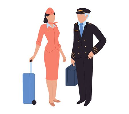 Aircrew, pilot and flight attendant, woman and man at airport, vector illustration. People characters with luggage in airport. Crew with baggage, international and domestic airport. Flat style.