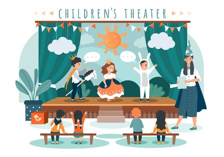 Children theater play, kids in costumes on stage, people vector illustration Ilustração