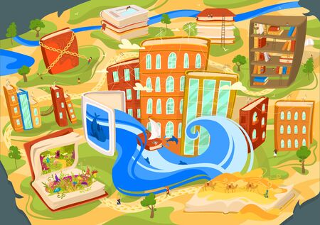 Reading book concept, fantasy world imagination, city build of books like houses, vector illustration