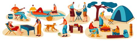 People cooking outdoor, summer barbecue picnic and camping with friends, vector illustration Ilustração