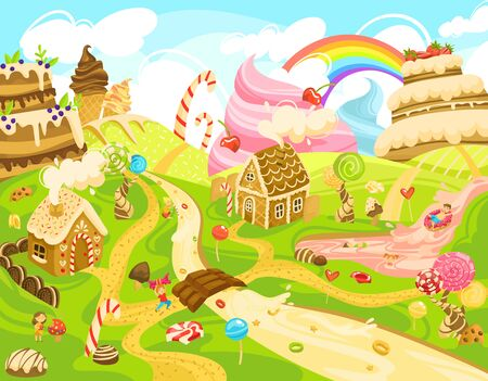 Children in candy land, kids in fantasy world of sweets, boys and girls cartoon characters, vector illustration