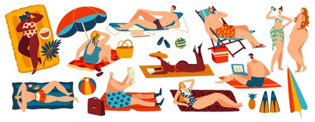 People relaxing on beach, set of body positive cartoon characters isolated on white, vector illustration