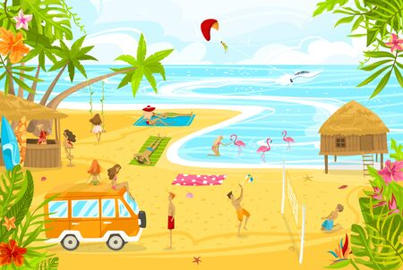 People relax on ocean beach, enjoy summer vacation with friends on tropical island, vector illustration