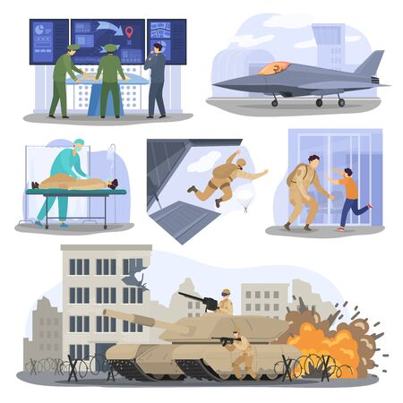 Soldiers at war, military people training in army, men in tank and airplane, vector illustration. Father returns from war and meets his son. Military general planning attack strategy, soldier army set 向量圖像