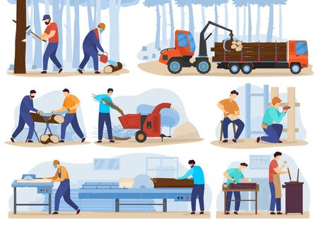 Woodwork processing stages, people cutting trees and produce timber, vector illustration. Wood production industry, men working on factory, carpenter cartoon character. Woodwork lumber manufacturing Ilustração