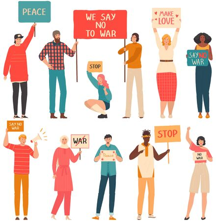 People protest against war set of cartoon characters isolated on white, vector illustration. Men and women activists protest with signboards, stop war peaceful demonstration. Public opinion expression Ilustração