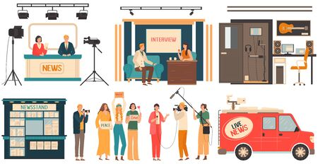 News reporters and television show interview, people in media industry, vector illustration. Live news reportage on tv, professional filming and recording studio. Event report, isolated cartoon set Ilustração
