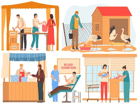 Volunteer donate to charity and help, blood donation and food for poor people, vector illustration. Men and women volunteers cartoon characters, social workers team. Volunteering program and donations