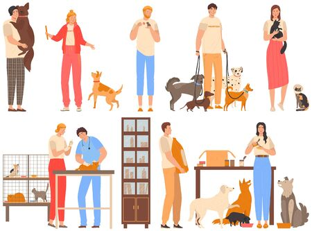 Volunteers in animal shelter, people take care of animals, dogs and cats rehabilitation center, vector illustration. Man and woman cartoon character volunteering and help animal. Pet shelter volunteer Ilustração