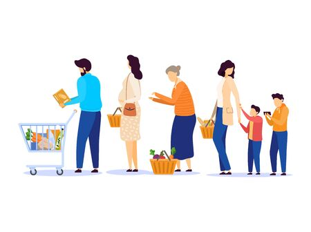 People in grocery store, line at cash desk, supermarket customers, vector illustration. Men and women buying groceries in shop. Customers cartoon characters, scene from grocery store or supermarket Ilustração