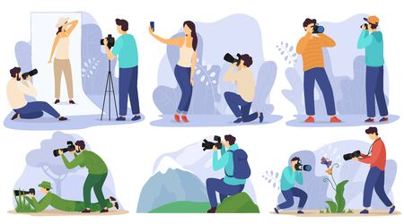 Photographer in studio and outdoor, taking pictures of people and nature, vector illustration. Professional photo equipment, man traveling with camera and shooting landscapes and wildlife photography
